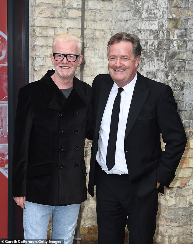 Out for the night: The pair were seen arriving before the ceremony, with Pierce wearing a smart suit and black tie and Chris cutting a casual figure