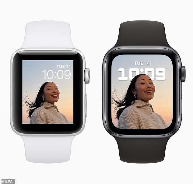 The Apple Watch Series 7 (right), though packed with new features, has a facelift from its predecessor with narrow beards around the face that allow for almost an all-screen display—the same as the Series 6 (left). Makes 20 percent bigger.