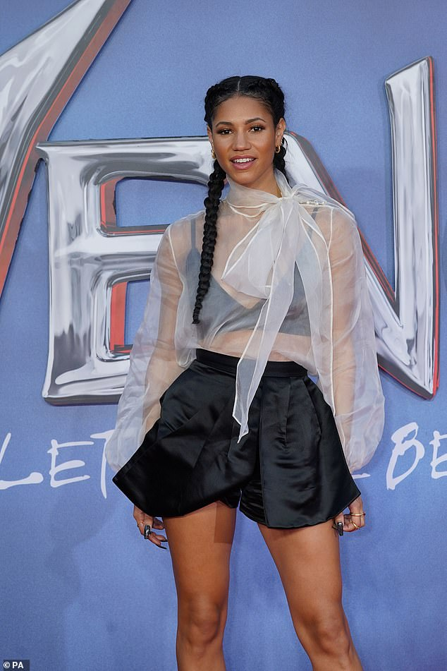 Wow! Vick Hope, 31, looked stunning as she flashed her toned midriff in a sheer blouse for the Venom: Let There Be Carnage screening at Cineworld in Leicester Square, London on Tuesday