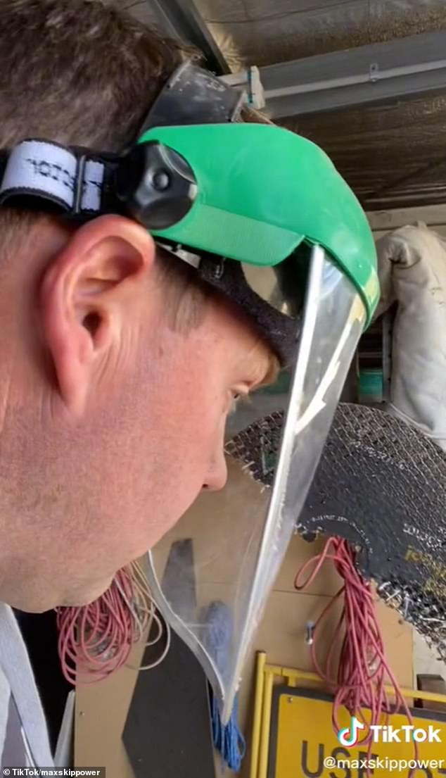 So close!Matthew Peters was using a grinder — a tool that sharpens blades and tools — when half of the metal disc broke off and went flying right at his face