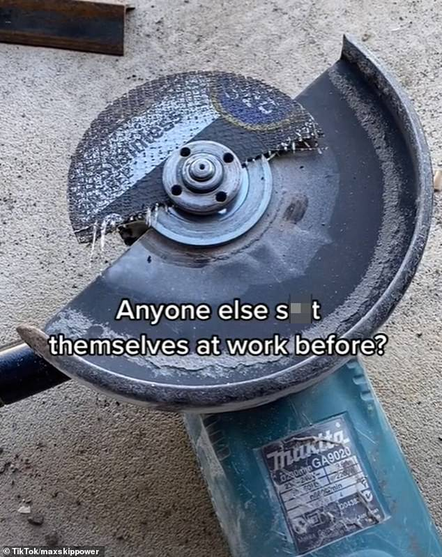 'Anyone else s*** themselves at work before?' he wrote over the video, showing the broken tool