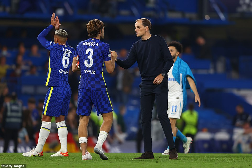 Thomas Tuchel looked pleased with his players as he shook hands with them after the referee's full-time whistle