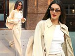 Kendall Jenner is casual in khaki as she suits up after stunning the Met Gala