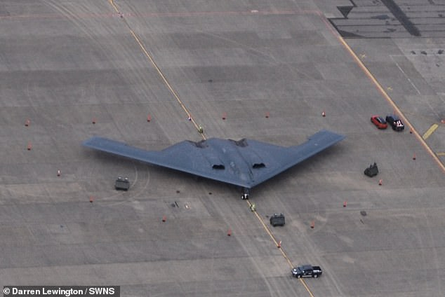 This picture show a stealth bomber on the ground at an RAF airbase after it arrived for a training exercise in 2020