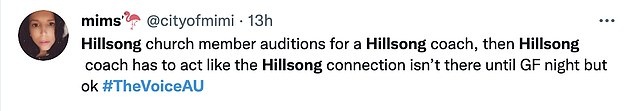 Mixed reaction: It comes after The Voice Australia was criticised on social media for appearing to promote Hillsong Church during Sunday's grand finale