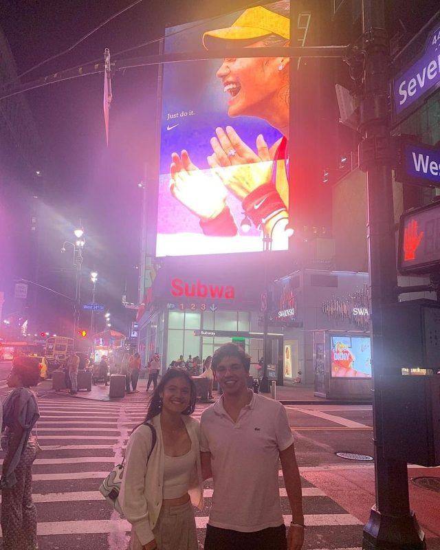 Following her victory at the Arthur Ashe Stadium on Saturday, Miss Raducanu, 18, posed with her old pal for a photo beneath a Manhattan billboard celebrating the city's new Grand Slam star