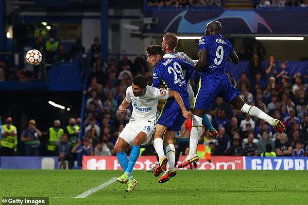 Lukaku (right) headed home Chelsea's winner in their 1-0 win over Zenit St Petersburg