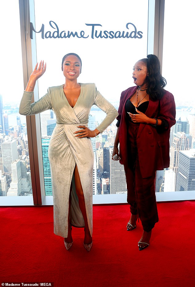 Wow!Hudson looked like she could not believe her eyes when her wax figure was unveiled at Madame Tussauds New York