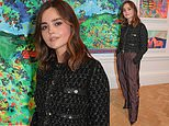 Jenna Coleman cuts a stylish figure in maroon Chanel trousers atthe Royal Academy of Arts party
