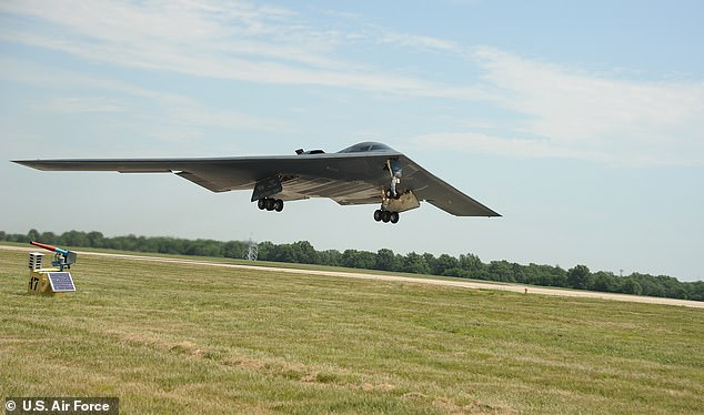 A B2 Spirit stealth bomber was damaged after an emergency landing at Whiteman Air Force Base in Missouri today. File picture