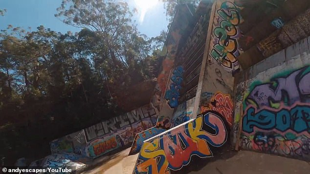The heavily-graffitied dam had an eerie vibe, according to the photographer