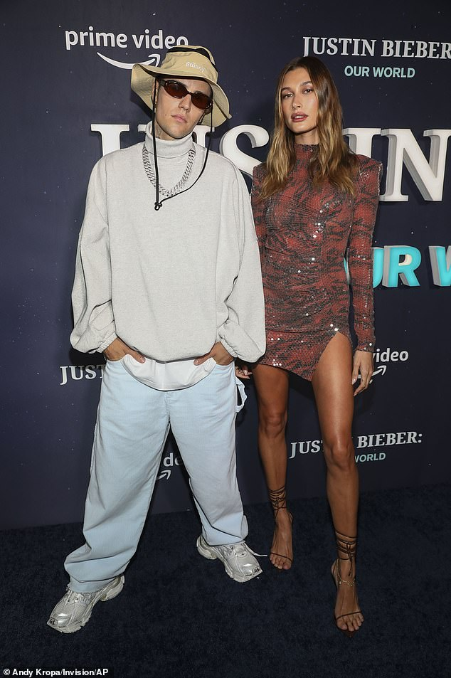 Strewth: Justin Bieber's sense of style appeared to crumble Tuesday night as he wore a hat reminiscent of popular Australian character Crocodile Dundee at the premiere of his new movie