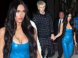 Megan Fox enchants in blue leather as she walks hand-in-hand with Machine Gun Kelly