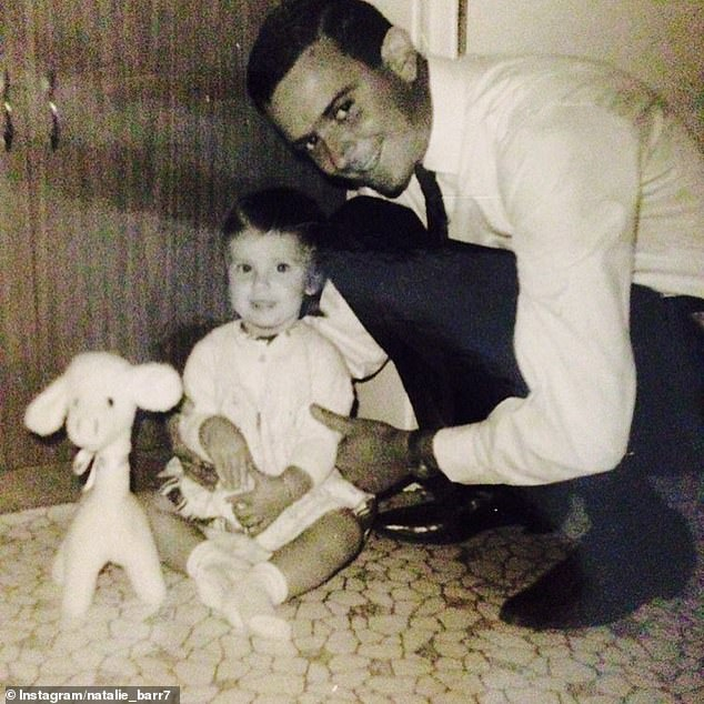 Memories: As throwback images flashed on screen of Natalie and her late father, she became overwhelmed with emotion and broke down into tears (pictured together)