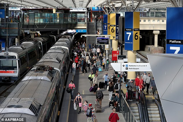 The adrenaline junkie said he didn't want anyone else to try to replicate the risky behaviour and admitted the stunt had almost proved fatal (pictured, Perth Central train station)