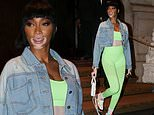 Winnie Harlow sets pulses racing as she sports a sexy green exercise bra and matching leggings in NY