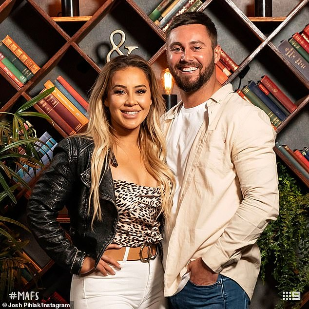 Past:Josh confirmed his relationship with Maddy in October last year, after splitting from his MAFS bride Cathy Evans (left)