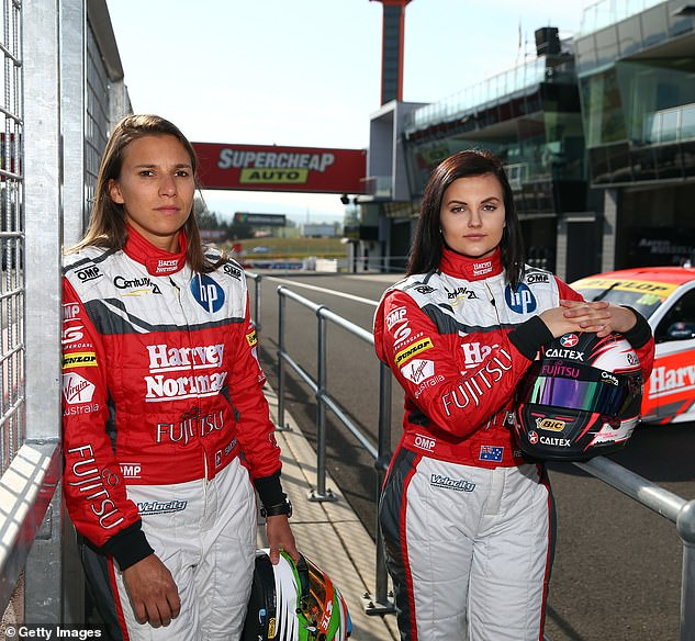 Wonder women: Renee was part of an all-female team that competed at Bathurst in 2015. Renee also raced with Simona de Silvestro in 2016. Pictured right in 2015 with fellow driver Simona De Silvestro