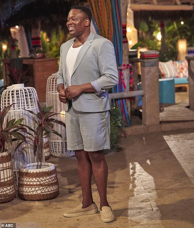 Guest host:Show guest host Tituss Burgess, 42, said at the start of the two-hour episode that five of the women would be going home as the men held the roses for the rose ceremony