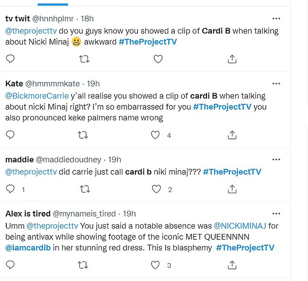Calling her out: One viewer said they were 'embarrassed' for the host, 40, after she confused rappers Cardi B and Nicki Minaj