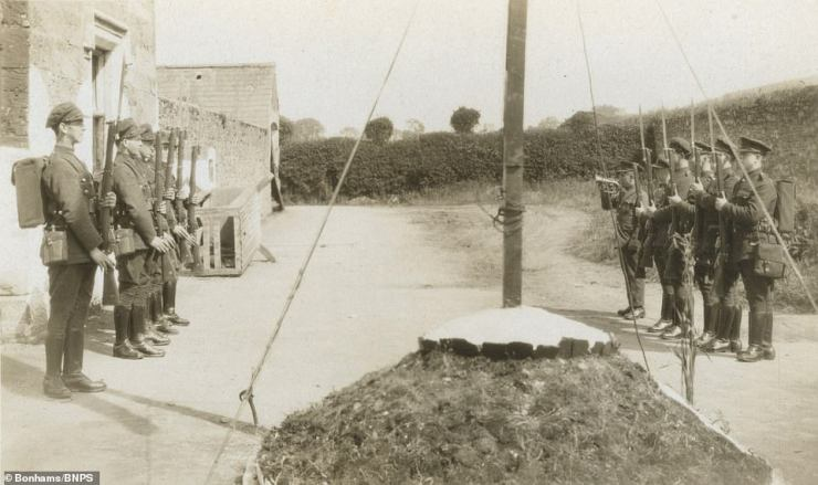 Soldiers on parade in a picture featuring among never-before-seen photos documenting the Irish hostilities of the 1920s