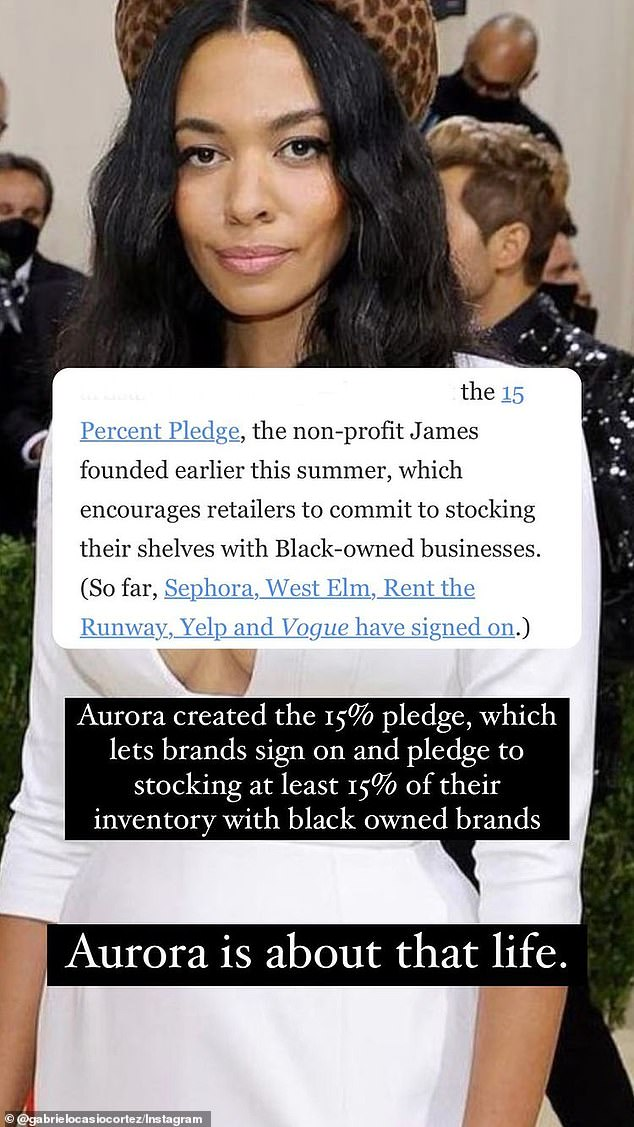 Gabriel also defended his sister's designer, Aurora James, praising the fact that her brand, Brother Veilles, is a Black, woman-owned, sustainable business