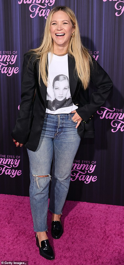 Power combo: Musician Mark Wystrach and actress Vanessa Ray proved the power of a good T-shirt and jeans combo as they walked the red carpet in classic getups