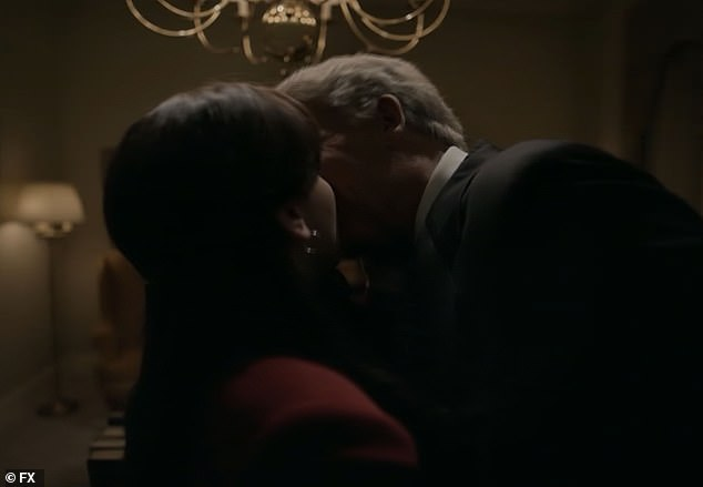Kiss: The pair are seen fliting and kissing in Clinton's office