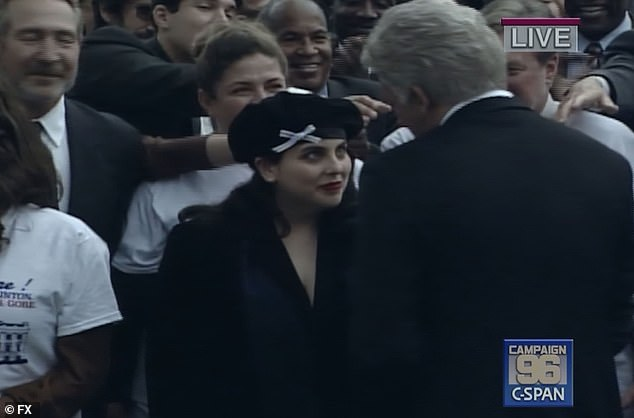 Support: The show cuts to November 6, the morning after the election, as Lewinsky is seen getting into a taxi headed toward Clinton's reelection celebration