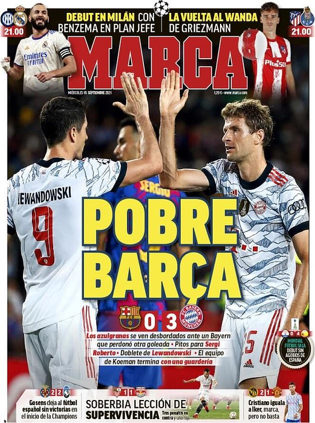 The front page of Marca reads 'poor Barcelona' and tears into the hosts after their defeat