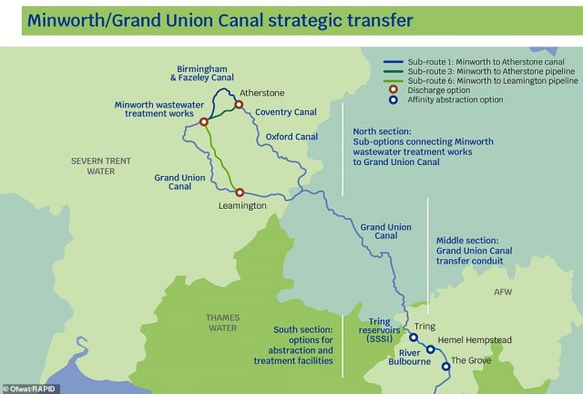 They will use the Grand Union Canal to transfer water from treatment works in the Midlands to Hertfordshire and London
