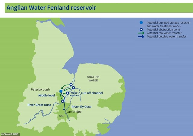 The Fenland reservoir in East Anglia would be created to the east or west of the Ouse Washes, serving Cambridge and the surrounding area. It is hoped it will contribute to future demand for water in the Anglian Water and Cambridge Water regions