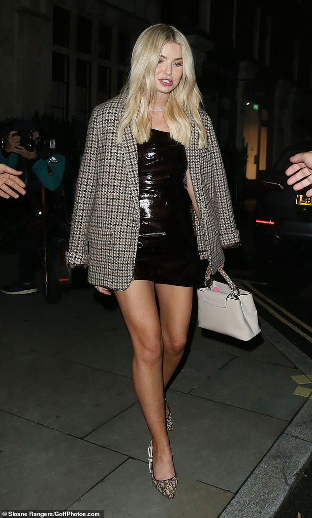 Stunning:Georgia Toffolo appeared to be reunited with her ex George Cottrell during a night out at upmarket hotel-restaurant Chiltern Firehouse in London's Marylebone on Tuesday evening