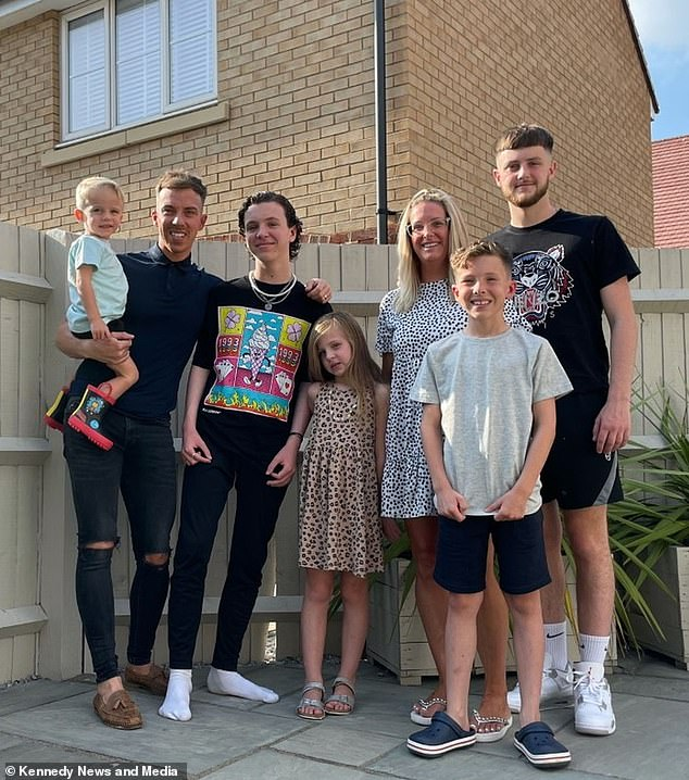 Kate Herman and husband Dan Herman, from Biggleswade, Bedfordshire, with their children Buddy, 2, Alfie, 14, Lottie, 7, Stanley, 8, and Charlie, 20