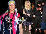 Rihanna shows off her edgy sense of style as she steps out for Scooter Braun's party in NYC