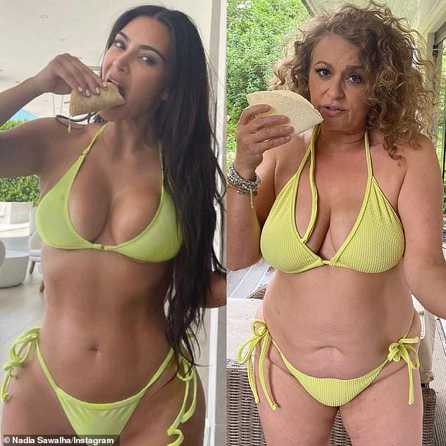 Funny: In June Nadia recreated one of Kim's recent holiday snaps, in which the KUWTK star chomped on a taco while wearing a tiny bikini