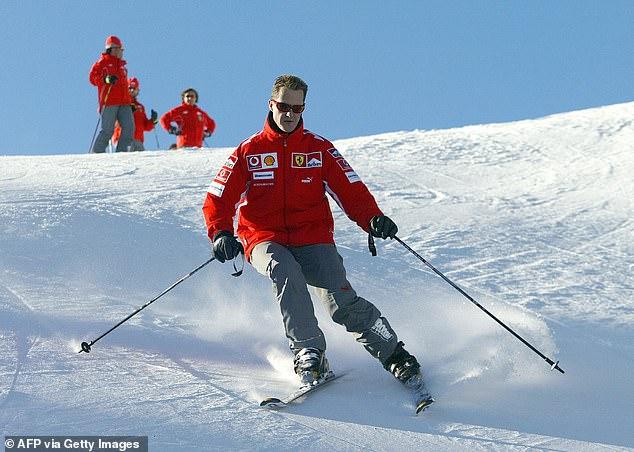 Schumacher (pictured skiing in Italy in 2005) collided with a rock while skiing in Meribel in 2013 and suffered a catastrophic brain injury that left him in a medically-induced coma for six months