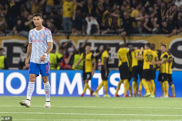 Ronaldo looks on after Young Boys score their equaliser at the Wankdorf Stadium on Tuesday