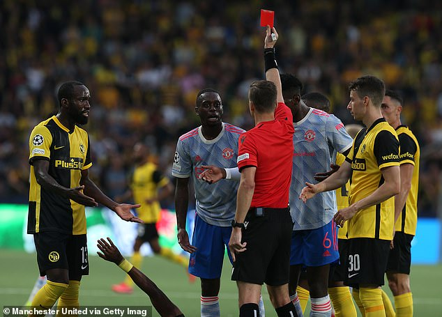 United lost 2-1 to Young Boys after Aaron Wan-Bissaka's red card left them down to ten men