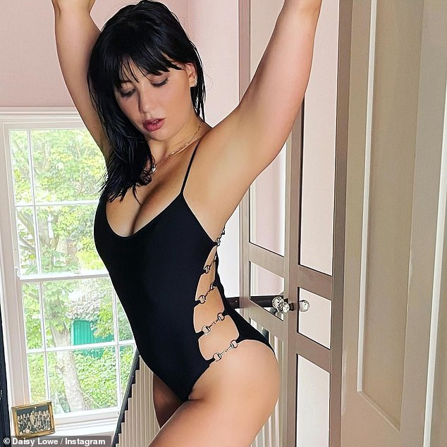 Statuesque:Daisy Lowe was very excited to be modeling a very rare swimsuit by Gucci and Tom Ford on Wednesday