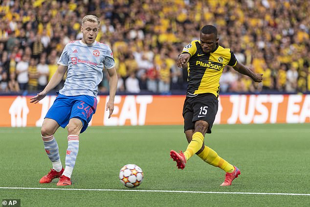 Donny van de Beek (left) was brought off at half-time and it invited pressure from Young Boys