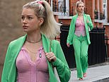 Lottie Moss goes braless as she enjoys a stroll in a sheer pink shirt and bright green suit
