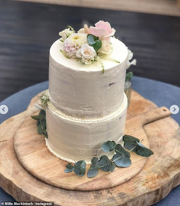 Tasty: The former Made In Chelsea star also shared a photo of the tasty white cake that they had made