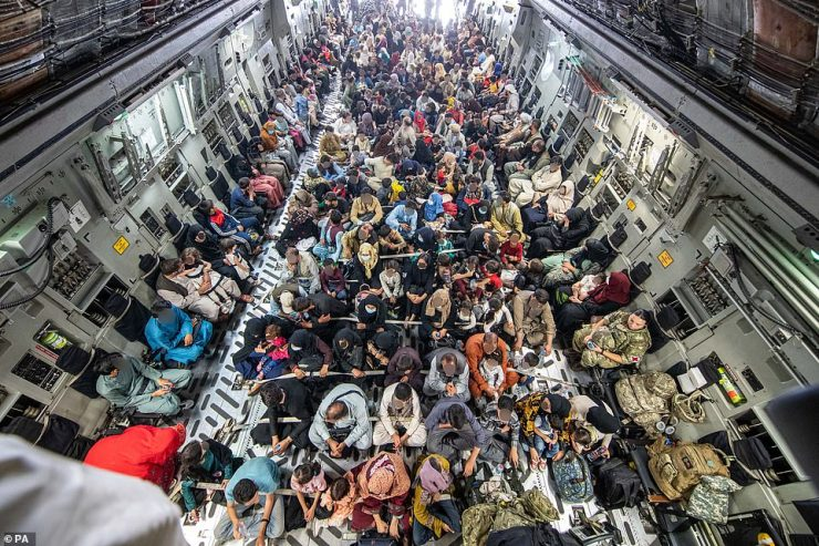 A full plane of 265 people supported by Britain's Armed Forces on board an evacuation flight out of Kabul on August 21
