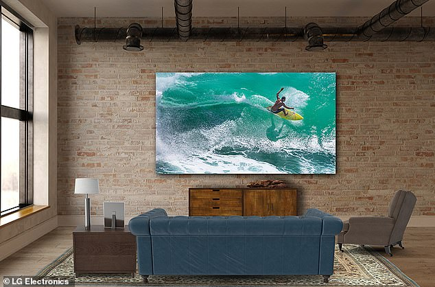 The giant TV is available in a variety of sizes, with 2K options measuring 196-inches wide, 4K options measuring 393-inches wide, and 8K options measuring 325-inches wide.