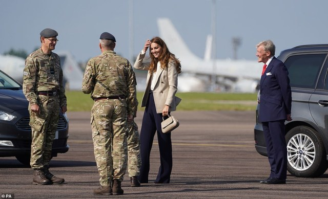 Kate Middleton arrives at RAF Brize Norton today to meet meet military personnel and civilians who helped evacuate Afghans