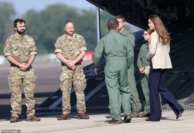 The Duchess of Cambridge learns about the UK's evacuation of civilians from Afghanistan, at RAF Brize Norton this afternoon
