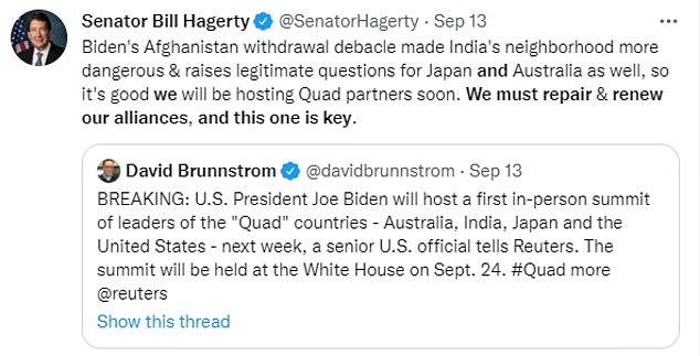Sen. Bill Hagerty, who sits on the Senate Foreign Relations Committee, said it was vital to repair alliances after Biden's handling of the Afghanistan withdrawal