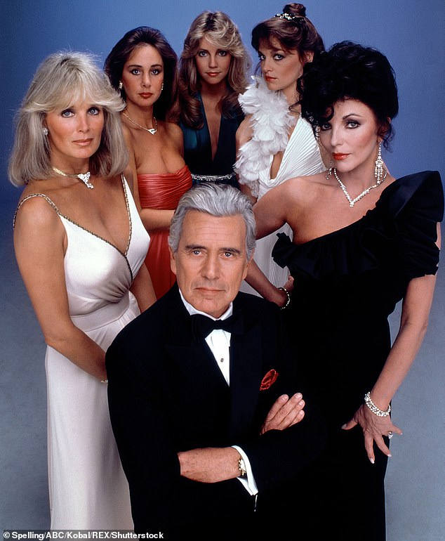 Early days of fame: (from top middle) Locklear, Pamela Sue Martin, Joan Collins, John Forsythe, Linda Evans, Pamela Bellwood on Dynasty (1981 until 1989)