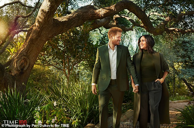 Harry and Meghan smile as they walk around their Californian estate in a photoshoot from the brands 'Weird' and 'Photoshopped'